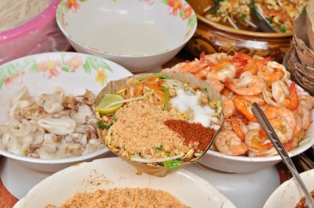 Pad thai with ingredient, Stir fly noodles with shrimp, fried noodles Thai  style photo