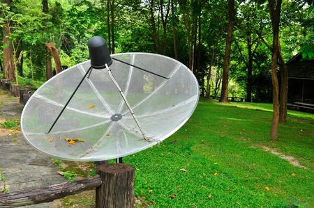 dish disk: Satellite dish in the garden Stock Photo