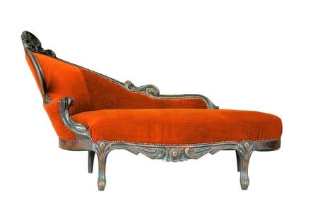 Vintage sofa isolated on white photo