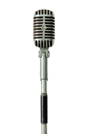 mike: Vintage microphone isolated Stock Photo