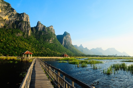 Bridge on the lake in national park, Sam Roi Yod National Park, Prachuap Khiri Khan, Thailand photo