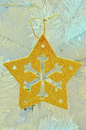 Gold star on christmas tree photo