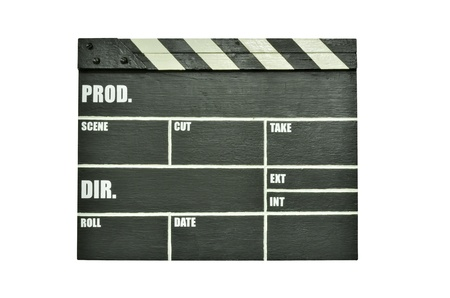 Clapper board isolated on white photo
