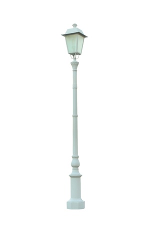 metal post: Vintage Lamp Post Lamppost Street Road Light Pole isolated