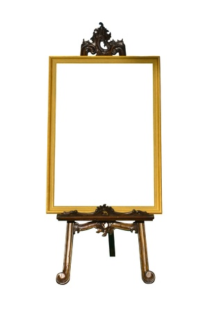 art gallery interior: Vintage gold picture frame with wooden easel isolated on white background