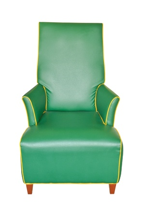 Leather green chair isolated photo