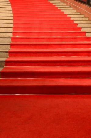 Stairs covered with red carpet Stock Photo - 12754110
