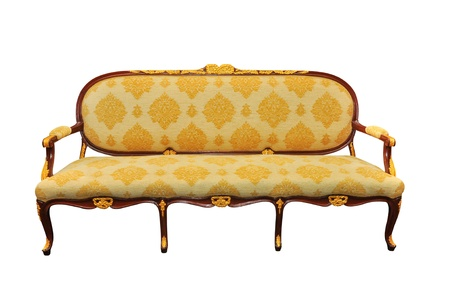 Vintage sofa isolated on white photo