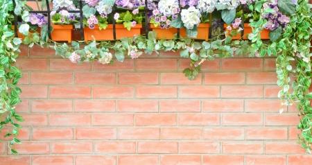 Brick wall with natural frame