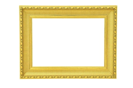 Vintage gold picture frame isolated  photo