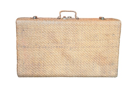 Vintage brown wood suitcase isolated photo
