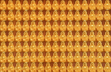 Gold Buddha statues in Thai temple  photo