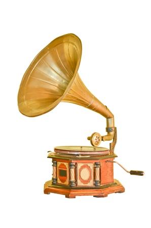 Vintage gramophone isolated on white Stock Photo