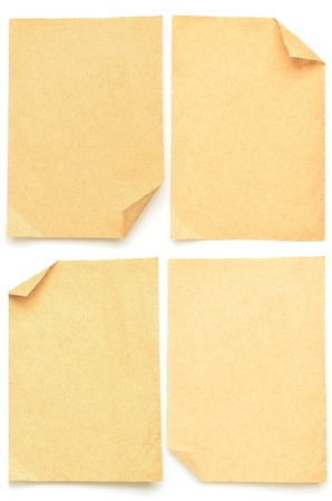 collection of various brown papers isolated on white photo