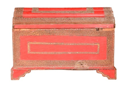 Vintage red chest isolated on white photo