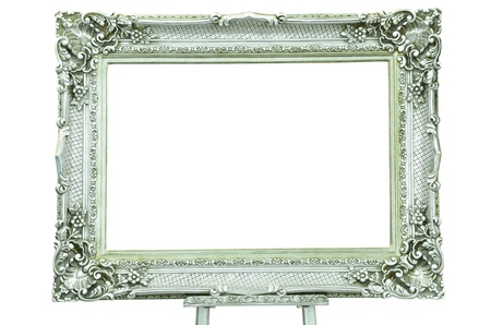 Vintage silver picture frame with metal silver easel isolated on white background  photo