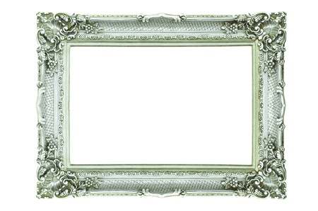 Vintage silver picture frame isolated on white  photo