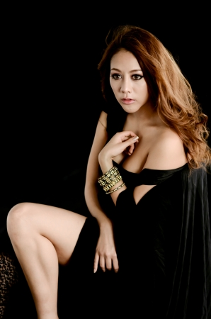 Portrait of young beautiful woman in the black dress Stock Photo - 14170211