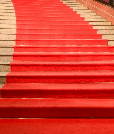 Stairs covered with red carpet Standard-Bild