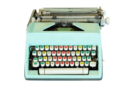 Vintage typewriter isolated on white photo