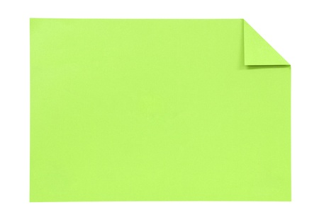 note booklet: Green paper isolated on white Stock Photo