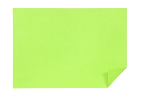 Green paper isolated on white photo