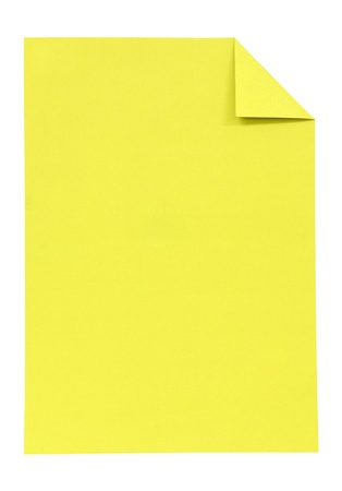 Yellow paper isolated on white photo