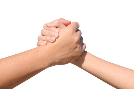 Partner hand between a man and a woman isolated on white background photo