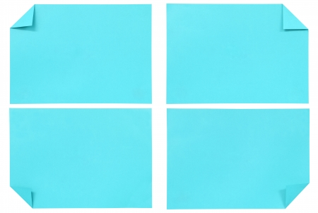 collection of various blue paper isolated on white photo