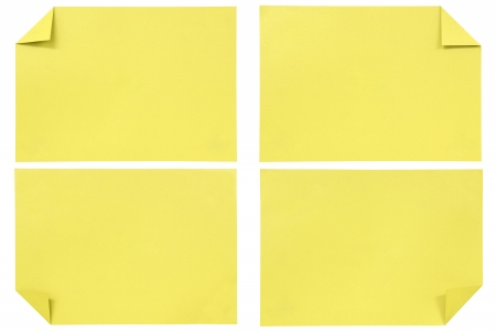 collection of various Yellow paper isolated on white photo