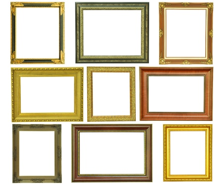 Set of vintage gold picture frame isolated on white photo