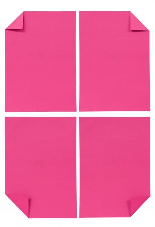 collection of various pink paper isolated on white photo
