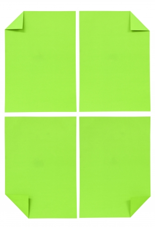 collection of various green paper isolated on white photo