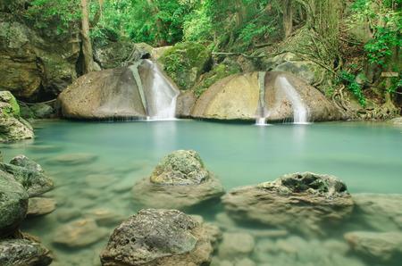 sue: Erawan Waterfall Kanchanaburi Thailand. The 4th floor of Erawan waterfall call Oke Nang Phee Sue.