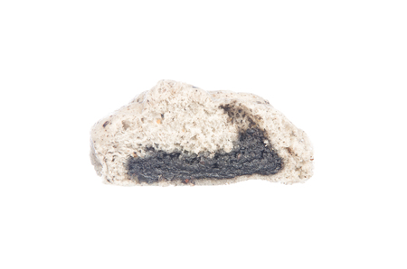 half stuff: Sliced steamed stuff bun, black sesame salapao isolated on white background Stock Photo