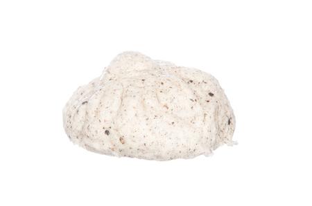 half stuff: Steamed stuff bun, black sesame salapao isolated on white background