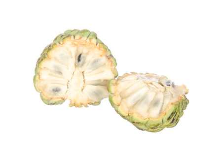custard apples: Sliced custard apples isolated on white background