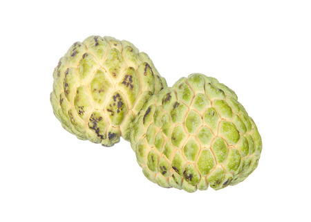custard apples: Two custard apples isolated on white background