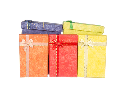 boxs: Pile of gift boxs with ribbon and bow isolated on white background
