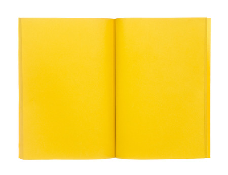 paper notes: Open yellow book isolated on white background