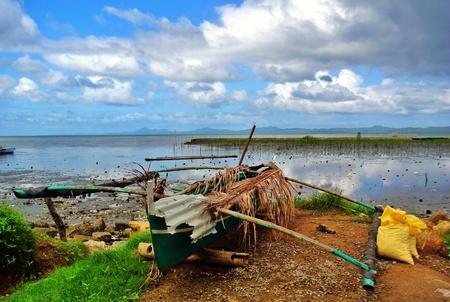 stranded: Stranded boat Stock Photo