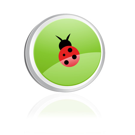 Ecology igon with ladybird, green collection Vector