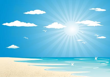 Beach and sun Vector