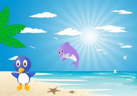 Friends on beach Vector