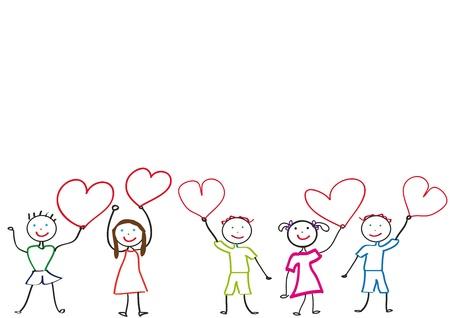 ni�os jugando en la escuela: Ni�os Happy y sonrisa con coraz�n Vectores