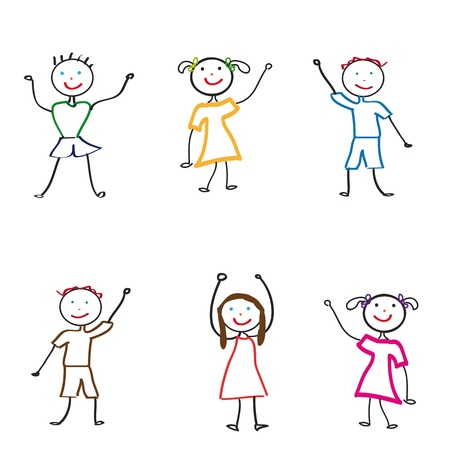 canta: Cartoon felice ragazzi e ragazze Vettoriali