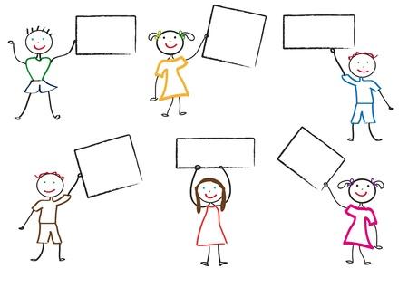 Happy und Cartoon Childrens halten blanks