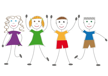 Happy dancing and jumping kids Stock Vector - 8468336