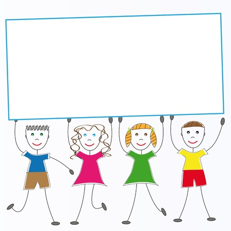 Happy kids standing by white blank Stock Vector - 8468342