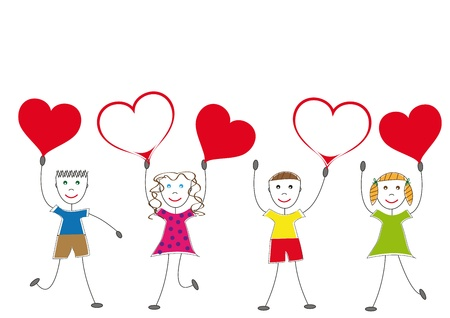 animated action: Happy and smile kids with heart